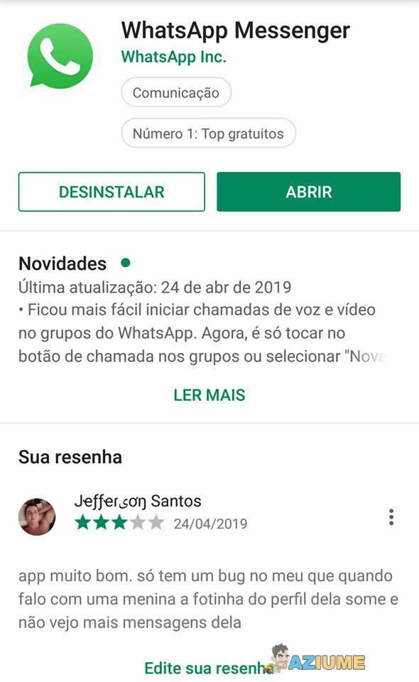 Pequeno bug no Whatsapp